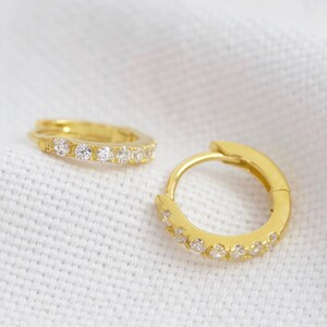 Gold Sterling Silver Crystal Huggie Hoop Earrings