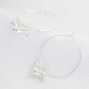Sausage Dog Charm Hoop Earrings in Silver