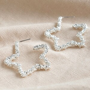 Sparkly Textured Star Hoop Earrings