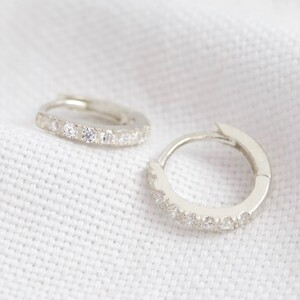 Sterling Silver Crystal Huggie Hoop Earrings