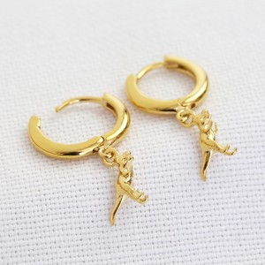 T-Rex Dinosaur Huggie Hoop Earrings in Gold