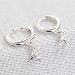 T-Rex Dinosaur Huggie Hoop Earrings in Silver