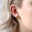 Oval Organic Shape Sunshine Stud Earrings on Model