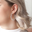 Statement Large Chain Link Hoop Earrings in Silver on Model