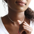 Model Wears Lisa Angel Heart Outline Pendant Necklace in Silver