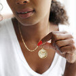 Constellation Disc Pendant Necklace in Gold on Model
