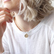 Wax Seal Bee Pendant Necklace in Gold on Model