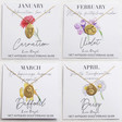 Lisa Angel January, February, March and April  Gold Sterling Silver Cast Birth Flower Necklaces