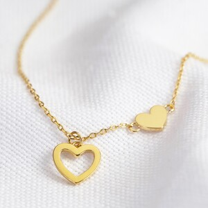 Mismatched Heart Necklace in Gold