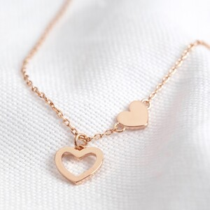 Mismatched Heart Necklace in Rose Gold