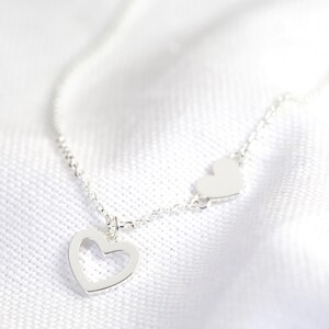 Mismatched Heart Necklace in Silver