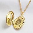 Lisa Angel Ladies' Gold Personalised Fingerprint Oval Locket Necklace
