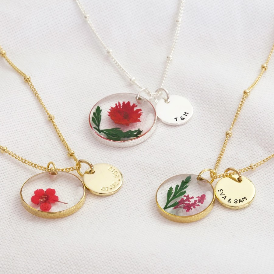 Real Flower Necklace Pressed Flower Necklace Dried Flower Jewelry Daisy Necklace Mothers Day Gift