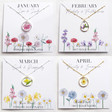 Lisa Angel January, February, March and April Real Pressed Flower Pendant Necklaces in Gold