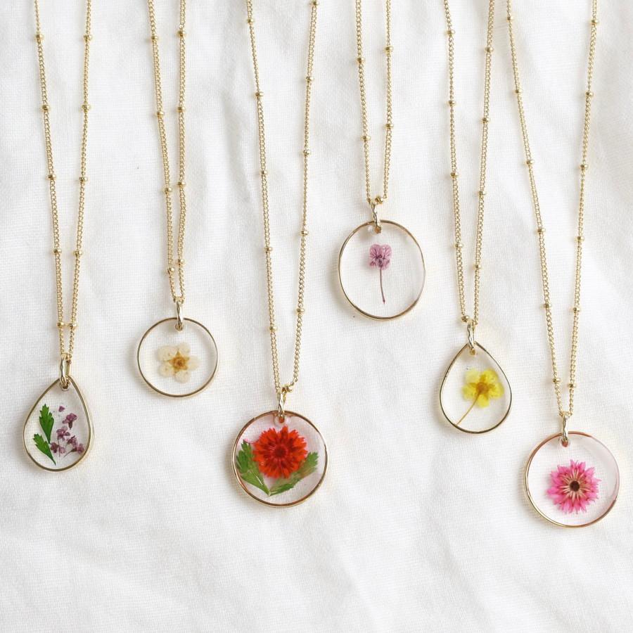 Pressed Flower Necklace Pendant