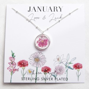Real Pressed Birth Flower Pendant Necklace in Silver - January