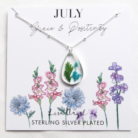 Real Pressed Birth Flower Pendant Necklace in Silver - July