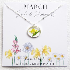 Real Pressed Birth Flower Pendant Necklace in Silver - March