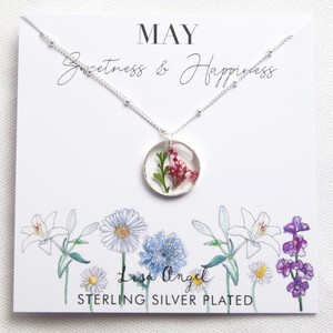 Real Pressed Birth Flower Pendant Necklace in Silver - May