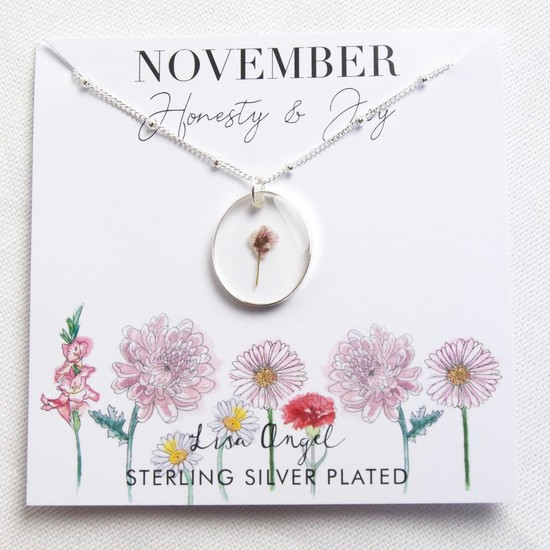 Real Pressed Birth Flower Pendant Necklace in Silver - November