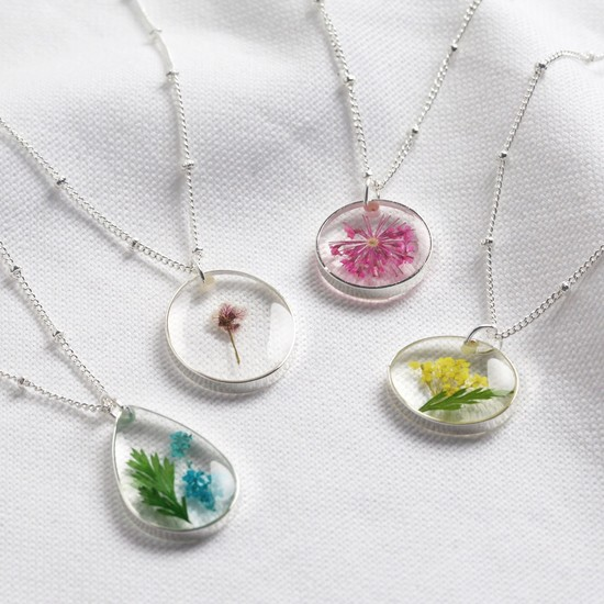 Real Pressed Birth Flower Pendant Necklace in Silver - August