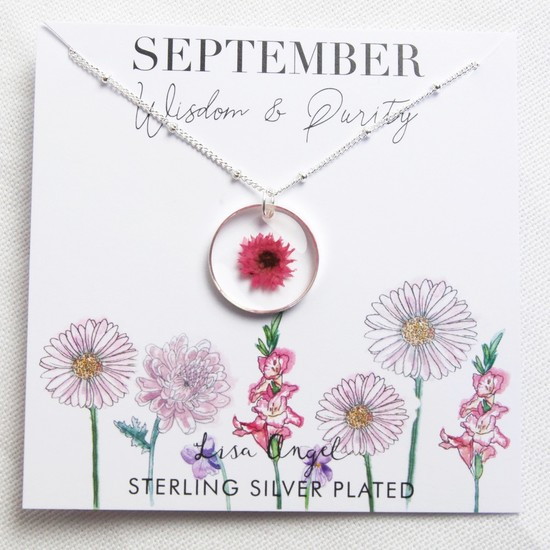 Real Pressed Birth Flower Pendant Necklace in Silver - September