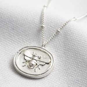 Wax Seal with Bee on Satellite Chain Necklace in silver