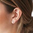 Silver Knot Stud Earrings on Model