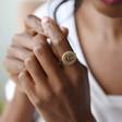 Statement Gold Debossed Botanical Ring on Model