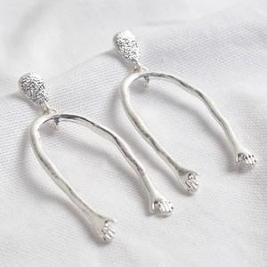 Silver Hand Dangly Earrings
