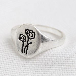 Silver Two flowers oval ring