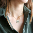 Personalised Antique Effect Disc Pendant Necklace on Model