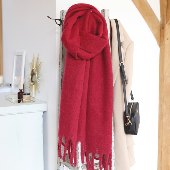 Deep Red Recycled Oversized Scarf