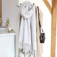 Lisa Angel Grey Personalised Embroidered Gold Initials Recycled Oversized Scarf