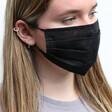 Model Wears Lisa Angel Plain Black Pleated Fabric Face Mask