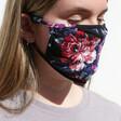 Model Wears Lisa Angel Ladies' Dark Floral Fabric Face Mask