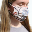 Model Wears Lisa Angel Floral Pleated Fabric Face Mask