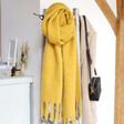 Lisa Angel Yellow Personalised Embroidered Initials Recycled Oversized Scarf