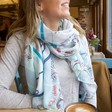 Lisa Angel Ladies' Paris Map Scarf in Blue on Model