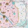 Print of Paris Map Scarf in Pink