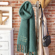 Personalised Embroidered 'I Am' Recycled Oversized Scarf in Green