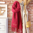 Lisa Angel Ladies' Personalised Embroidered Initials Dark Red Recycled Oversized Scarf