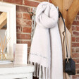 Lisa Angel Ladies' Grey Personalised Embroidered Recycled Oversized Scarf