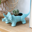 Lisa Angel Teal Triceratops Dinosaur Planter