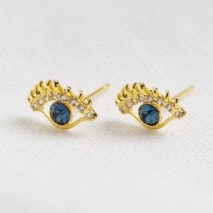 Gold and Blue Crystal Eye Stud Earrings