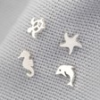 Lisa Angel Ladies' Set of 4 Mismatch Summer Stud Earrings in Silver