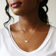 Lisa Angel Mixed Metal Gold and Rose Gold Hearts Pendant Necklace on Model