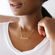 Personalised Gold Sterling Silver Horizontal Bar and Chain Necklace on Model