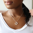 Model Wears Lisa Angel Delicate Personalised Hoop and Heart Necklace in Silver and Rose Gold