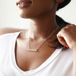 Personalised Sterling Silver Horizontal Bar and Chain Necklace on Model